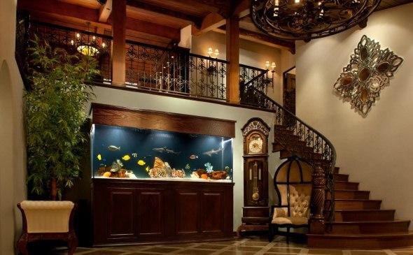 Aquarium at stairs